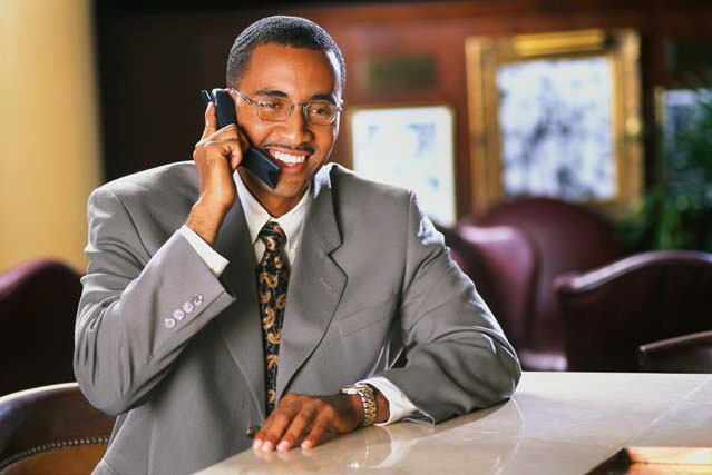 Black businessman on phone