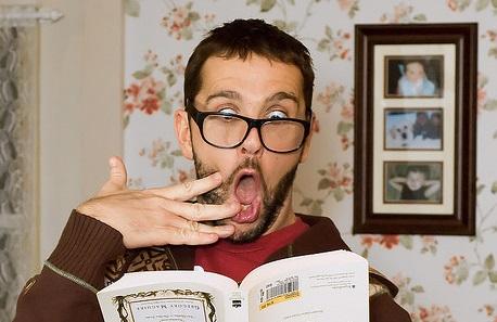 shocked man reading